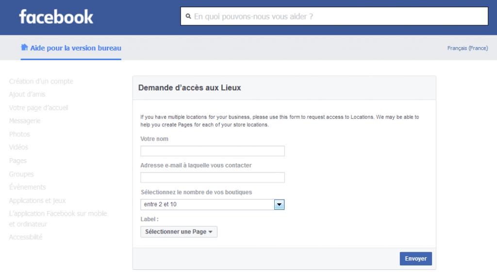 Facebook Pages Lieux Demande Acces