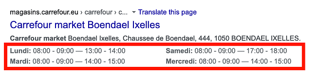 Rich Snippets carrefour