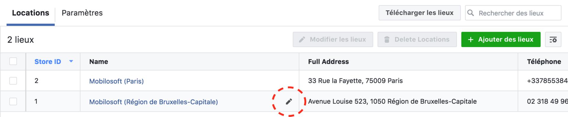 modification facebook lieu